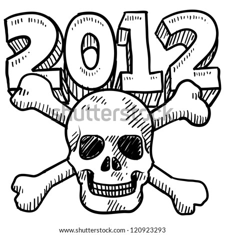 Doodle style Goodbye 2012 New Year's Eve sketch in vector format.  Includes 2012 text and skull and crossbones.