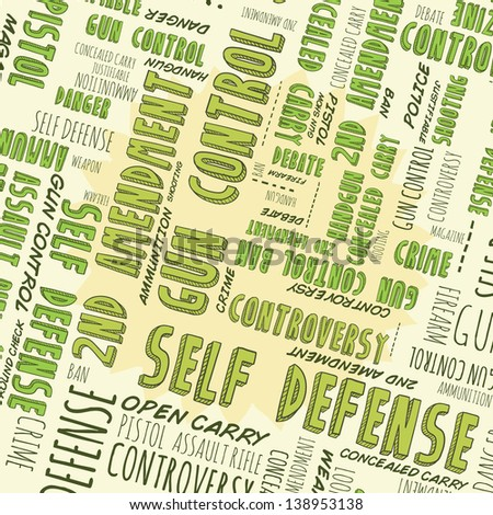 Doodle style gun control, second amendment, or self defense background with hand drawn words.  Vector format. - stock vector
