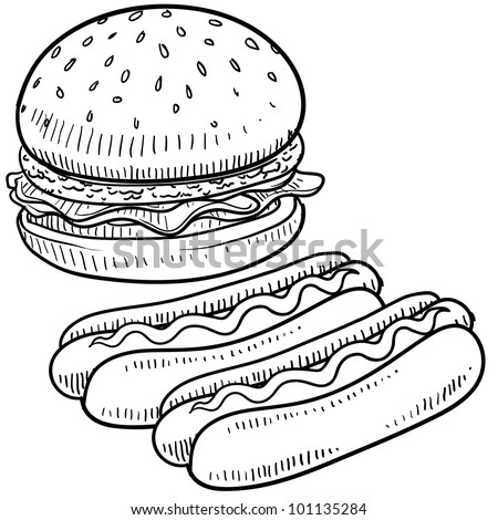Doodle style hamburger and hot dog with bun and condiments sketch in vector format - stock vector