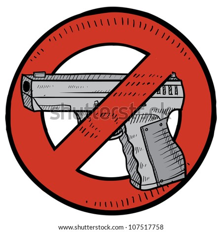 Doodle style handgun ban or gun control illustration in vector format. Includes automatic pistol surrounded by circle with a line through it. - stock vector