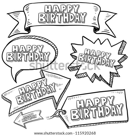 Doodle style Happy Birthday message tags, labels, banners and arrows in vector format. Can be used as an overlay, as background, or for a sticker effect on web or print materials. - stock vector