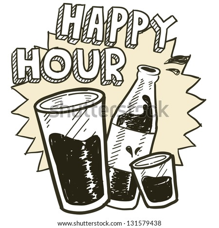 Doodle style happy hour alcohol drinking sketch in vector format.  Includes pint glass, text, shot glass, and beer bottle. - stock vector