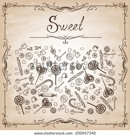 Doodle style hard candy set sketch  in vector format. Includes lollipops, wrapped candy, butterscotch, candy corn, gum drops, and jelly beans. - stock vector