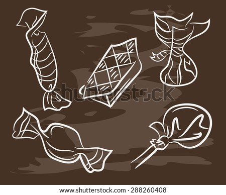 Doodle style hard candy set sketch on blackboard in vector format. Includes lollipops, wrapped candy, butterscotch, candy corn, gum drops, and jelly beans. - stock vector