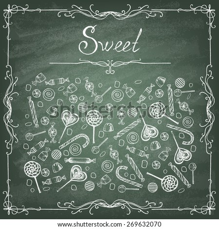 Doodle style hard candy set sketch on the green blackboard in vector format. Includes lollipops, wrapped candy, butterscotch, candy corn, gum drops, and jelly beans. - stock vector