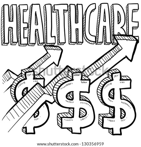 Doodle style health care costs increasing illustration in vector format.  Includes text, dollar sign, and up arrows.
