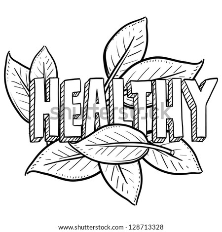 Doodle style healthy food, agriculture, or lifestyle illustration in vector format.  Includes text and natural leaves. - stock vector