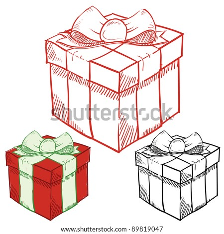Doodle style holiday or birthday presents vector illustration