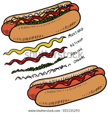 Doodle style hot dog with bun and condiments sketch in vector format