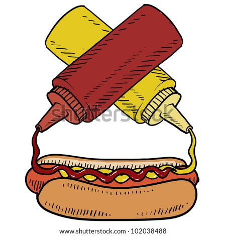 Doodle style hot dog with ketchup and mustard on a bun.  Condiments are crossed to balance the design. Vector format. - stock vector