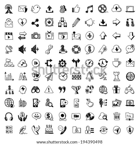 doodle style icons of social media , isolated  white background. - stock vector