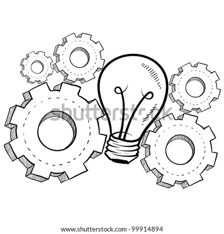 Doodle style idea light bulb with working gears to indicate invention - stock vector