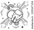 Doodle style illustration boxing in vector format. Includes boxing gloves and pop explosion background. - stock vector