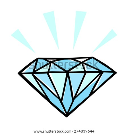Doodle style illustration of a diamond - stock vector