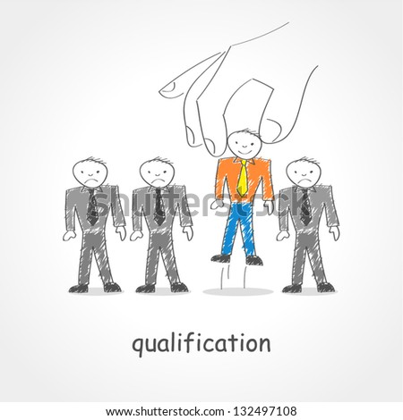 Doodle style illustration of a giant hand picking up a man figure - stock vector