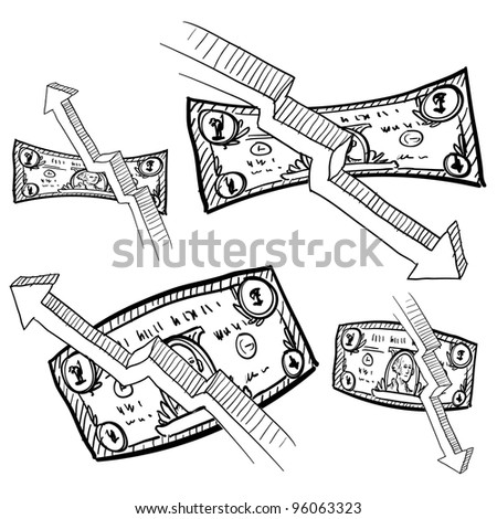 Doodle style inflation, deflation, and value symbols for paper currency or dollar bill in vector format.  Includes arrows to indicate rise or fall in value.