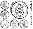 Doodle style international currency symbol coins.  Set includes American Dollar, Cent, Euro, French Franc, Japanese Yen, and British Pound Sterling. Vector format. - stock