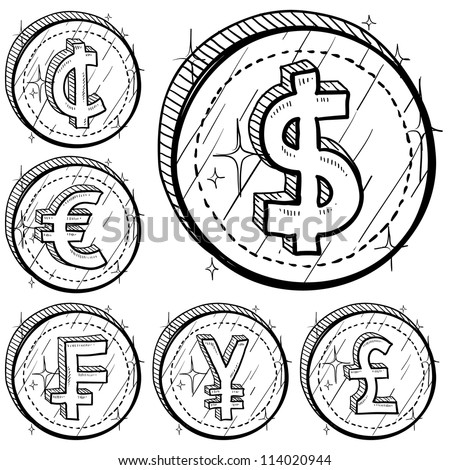 Doodle style international currency symbol coins.  Set includes American Dollar, Cent, Euro, French Franc, Japanese Yen, and British Pound Sterling. Vector format. - stock vector