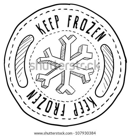 Doodle style keep frozen food label sketch in vector format. - stock vector