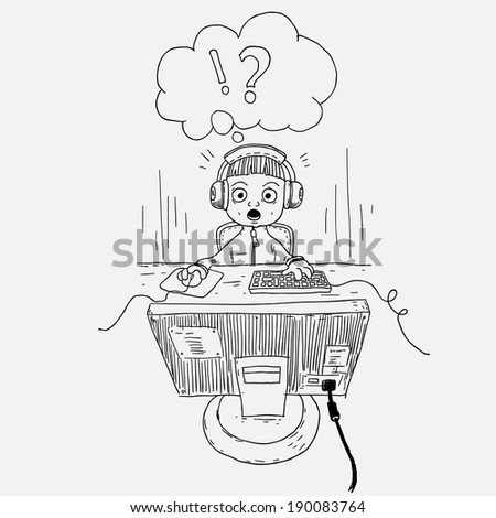 doodle style kid look on display with wow face, vector illustration - stock vector