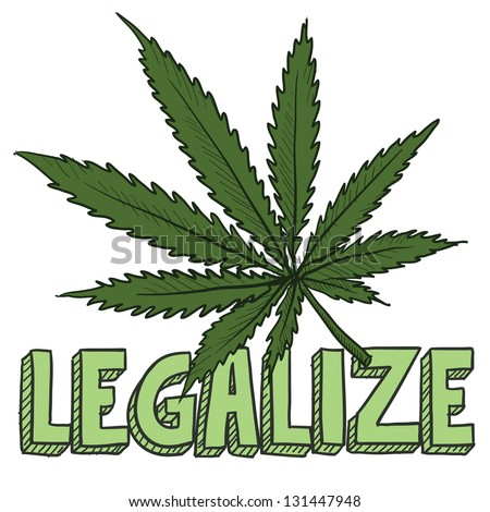 Doodle style legalize marijuana leaf sketch in vector format.  Includes text and pot plant. - stock vector