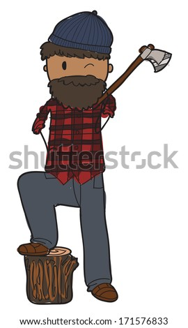 doodle style lumberjack with axe and lumberjack shirt