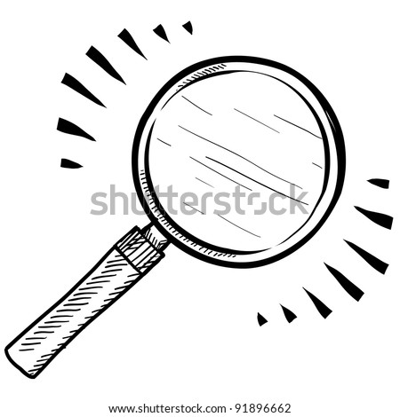 Doodle style magnifying glass, search, or look icon illustration in vector format - stock vector