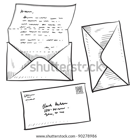 Doodle style mail, contact, message, or envelope vector illustration - stock vector