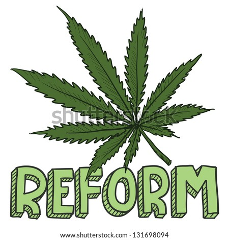 Doodle style marijuana law reform sketch in vector format.  Includes text and pot leaf. - stock vector