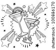 Doodle style martini glasses on 1970s pop explosion background illustration in vector format - stock vector
