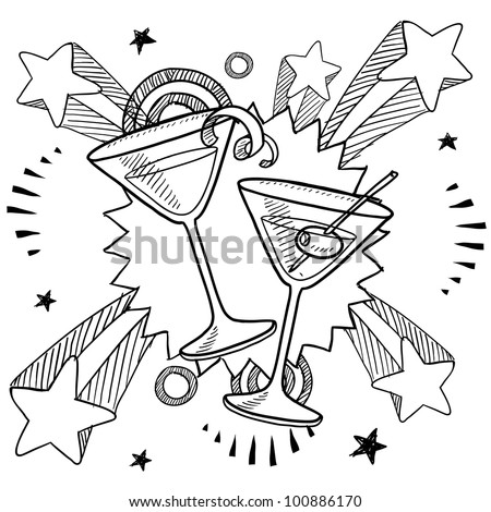 Doodle style martini glasses on 1970s pop explosion background illustration in vector format