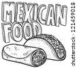 Doodle style Mexican food sketch, including text message, burrito, and tacos in vector format. - stock vector