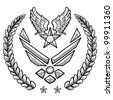 Doodle style military rank insignia for US Air Force, modern with abstract eagle wings and star - stock vector