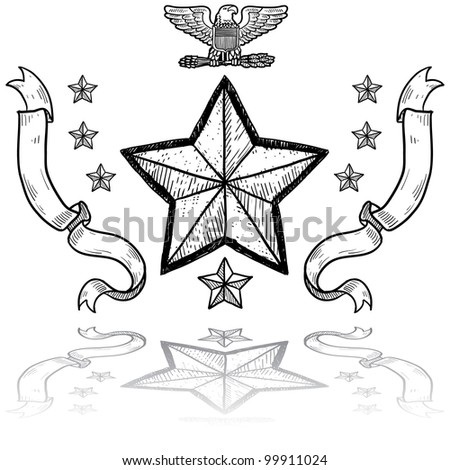 Doodle style military rank insignia for US Army