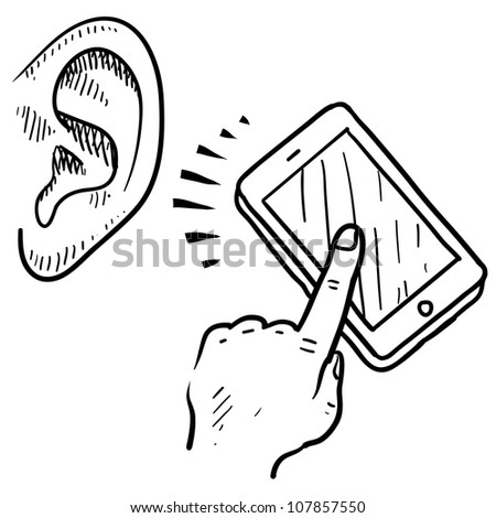 Doodle style mobile device communication sketch in vector format. Can be used to show text to voice software. - stock vector
