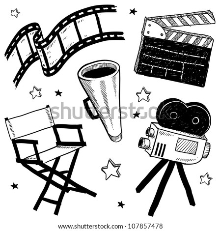 Doodle style movie set equipment sketch in vector format.  Set includes clapperboard, director's chair, megaphone, film strip, and camera. - stock vector
