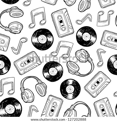 Doodle style music media seamless vector background. Includes vinyl records, music notes, headphones, and cassette tapes.
