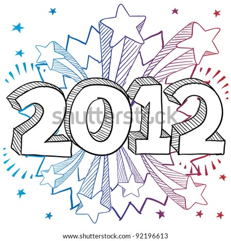 Doodle style 2012 New Year illustration in vector format with retro 1970s shooting stars pop background