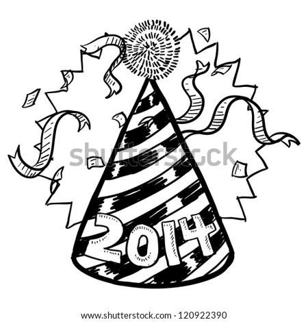 Doodle style New Year's Eve celebration sketch including party hat, confetti, and 2014 date marker.  Vector format.