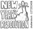 Doodle style New Year's Resolution reminder in vector format.  Includes string tied around the finger with text. - stock vector