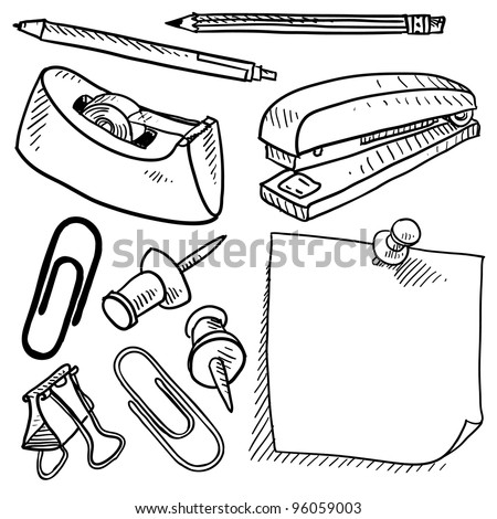 Doodle style office supplies illustration in vector format.  Set includes tape dispenser, pencil, pen, stapler, sticky note, stickpin, and paperclips.