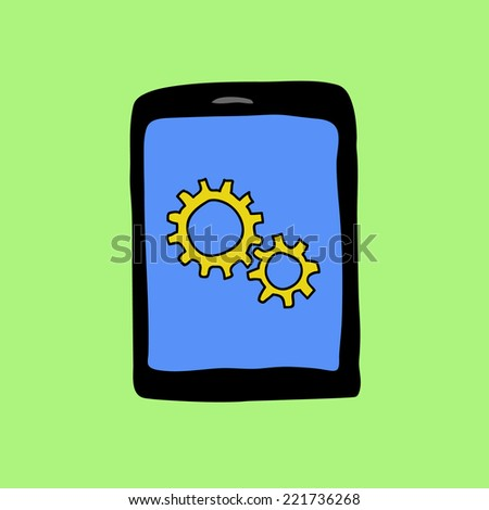 Doodle style pad with two gear wheels. Settings sign - stock vector