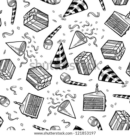 Doodle style party or celebration objects seamless vector background.  Includes presents, noisemakers, party hats, and confetti.