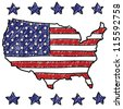Doodle style patriotic map of the United States illustration in vector format. - stock vector