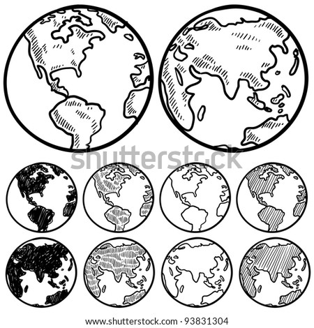 Doodle style perspectives on the globe sketch in vector format - stock vector
