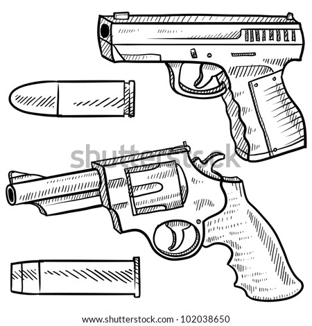 Doodle style pistol or handgun sketch including an automatic and a revolver in vector format.  Also included are bullets. - stock vector