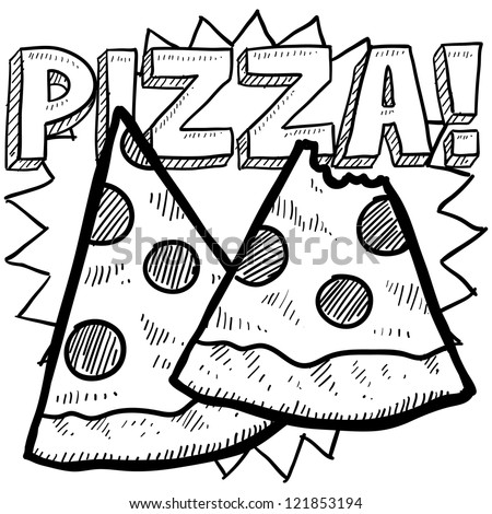 Doodle style pizza illustration with two slices and text message in vector format. - stock vector