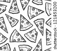 Doodle style pizza slice seamless vector background. - stock vector