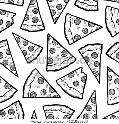Doodle style pizza slice seamless vector background.