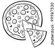 Doodle style pizza with a slice cut out of it in vector format - stock vector